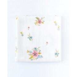 Petit Coco Swaddledecke aus 100% Bambus 120x120cm - RETRO FLOWERS