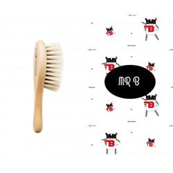 LULLALOVE Naturhaarbürste aus Ziegenhaar + Bambusmusselintuch Set - MRB