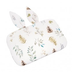 SAMIBOO - Babykissen mit Hasenöhrchen aus 100% Bambus 25x35cm - FOREST / Kedernaht grau