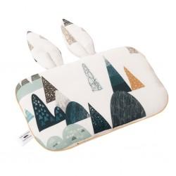 SAMIBOO - Babykissen mit Hasenöhrchen aus 100% Bambus 25x35cm - BLUE HILLS / Kedernaht senf