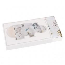 SAMIBOO - Bettwäsche aus 100% Baumwollsatin 100x135cm - FOREST / Kedernaht grau