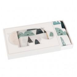 SAMIBOO - Bettwäsche aus 100% Baumwollsatin 100x135cm - BLUE HILLS/ Kedernaht senf