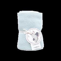 Petit Coco Grobstrick Baumwolldecke - 100% Baumwolle 75x90cm - LIGHT BLUE