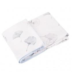 SAMIBOO - Bettwäsche aus 100% Baumwollsatin 100x135cm - GINKO GRAU / Kedernaht blau