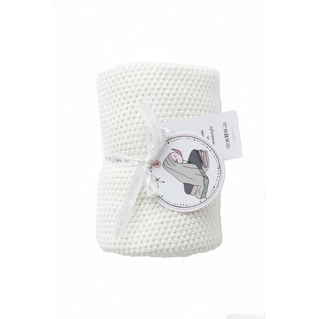 Petit Coco Grobstrick Baumwolldecke - 100% Baumwolle 75x90cm - DOVE