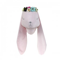 LOVE ME DECORATION - Wanddekoration Velvet Hase mit Blüten - ROSA