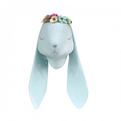 LOVE ME DECORATION - Wanddekoration Velvet Hase mit Blüten - BLAU