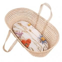 SAMIBOO - Bezug für Babywiege, Moseskörbchen und Kinderwagen aus 100% Baumwolle 80x50cm - FLOWERY MEADOW