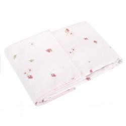 SAMIBOO - Bettwäsche aus 100% Baumwollsatin 100x135cm - RASPBERRIES / Kedernaht rosa