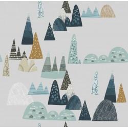 SAMIBOO Spannbettlaken 70x140cm aus 100% Baumwolle - BLUE HILLS auf GRAU
