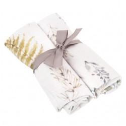 SAMIBOO - Musselintücher 2er Set aus 100 % Bambus + Silver Plus Protection 50x50cm - FOREST
