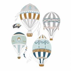 DEKORNIK hochwertige Wandsticker 4 Heißluffballons - Set III