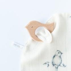 Petit Coco DouDou aus 100% Bambus mit Druckknopf - BIRDS