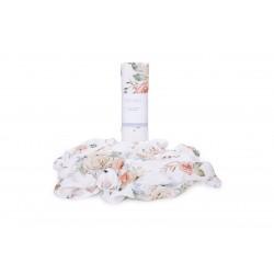 QBANA MAMA Swaddledecke aus 100% Bambusmusselin 120x120cm - VINTAGE FLOWERS