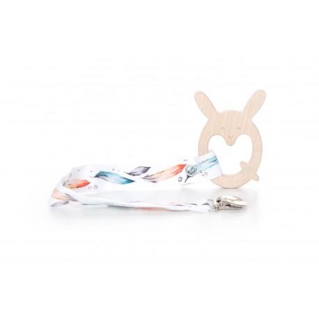QBANA MAMA - X-Bunny Ahornbeißring mit Clipanhänger - FEATHER