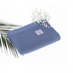 YOSOY French Baumwolldecke - 100% Baumwolle 80x100cm - DUSKY BLUE