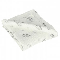 YOSOY - Swaddledecke Baumwollmusselin 100% ORGANIC COTTON GOTS 120x120cm - GREY LEAVES
