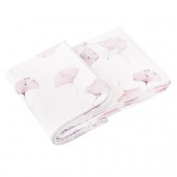 SAMIBOO - Bettwäsche aus 100% Baumwollsatin 100x135cm - GINKO ROSA/LILA/ Kedernaht grau