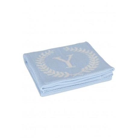 YOSOY LOGO Baumwolldecke aus 100% Baumwolle 80x100cm - BLUE