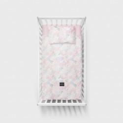 LULLALOVE Bettwäsche aus 100% Baumwolle für das Baby- und Kinderbett 100x135cm - BOHO ROSA