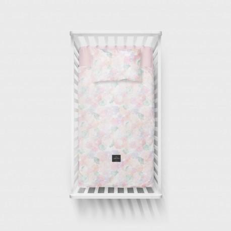 LULLALOVE Bettwäsche aus 100% Baumwolle für das Baby- und Kinderbett 100x135cm - BOHO GRAU/BLAU