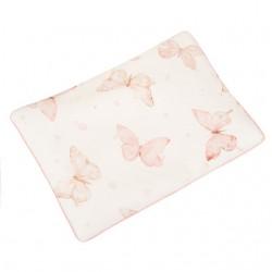 SAMIBOO - Bettwäsche aus 100% Baumwollsatin 100x135cm - BUTTERFLIES / Kedernaht rosa