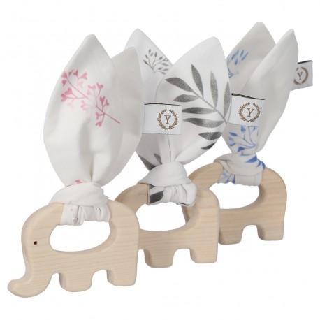 YOSOY - Elephant Ahornbeißring mit Baumwoll-Anhänger - PINK LEAVES