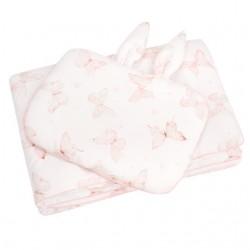 """SAMIBOO - Bettwäsche aus 100% Baumwollsatin mit """"FÜLLUNG"""" 75x100cm mit ÖHRCHEN - BUTTERFLIES / Kedernaht rosa"""