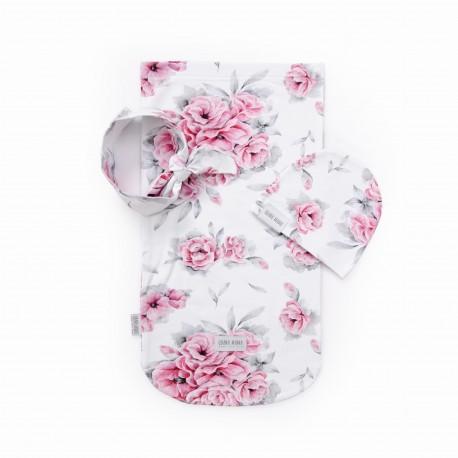 QBANA MAMA Newborn-Set Wrap, Mütze & Haarband - IN BLOSSOM