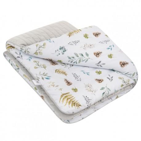 SAMIBOO - zweiseitige gesteppte Decke / Spieldecke / Tagesdecke 75x100cm - FOREST/GRAU