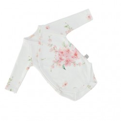 YOSOY Wickelbody langarm aus 100% Organic Cotton GOTS Gr. 68/74 - JAPANES FLOWERS