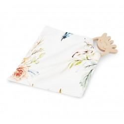 QBANA MAMA DouDou aus 100% Bambus mit Druckknopf + HOLZBEIßRING OKTOPUS - VINTAGE FLOWERS