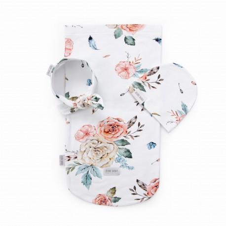 QBANA MAMA Newborn-Set Wrap, Mütze & Haarband - VINTAGE FLOWERS