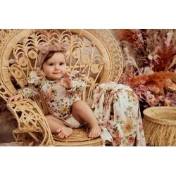 Samiboo Babybody langarm mit Volants aus 100% Organic Cotton GOTS Gr. 56/62 - VINTAGE BLOOM