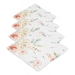 QBANA MAMA 4-Pack Tücher aus 100% Bambusmusselin 30x30cm - VINTAGE FLOWERS