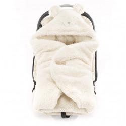 Qbana Mama - TEDDY Q-Bear Fußsack für die Autoschale Lammfelloptik - ECRU