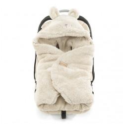 Qbana Mama - TEDDY Q-Bear Fußsack für die Autoschale Lammfelloptik - BEIGE
