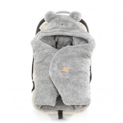 Qbana Mama - TEDDY Q-Bear Fußsack für die Autoschale Lammfelloptik - GRAU